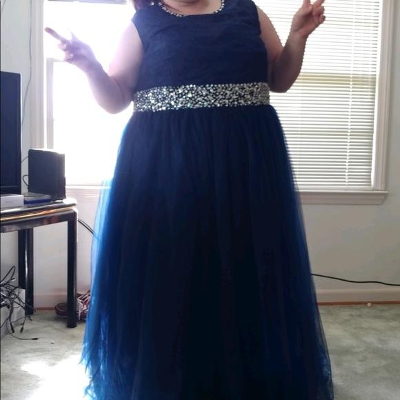 Navy Blue Plus Size Prom Dress!!